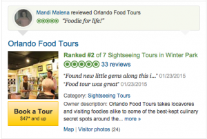 Orlando Food Tours Ranked #2 on Trip Advisor